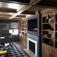 brown built in cabinets in living room