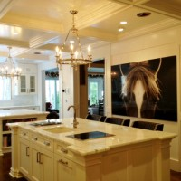 custom kitchen with elegant picture of horse face