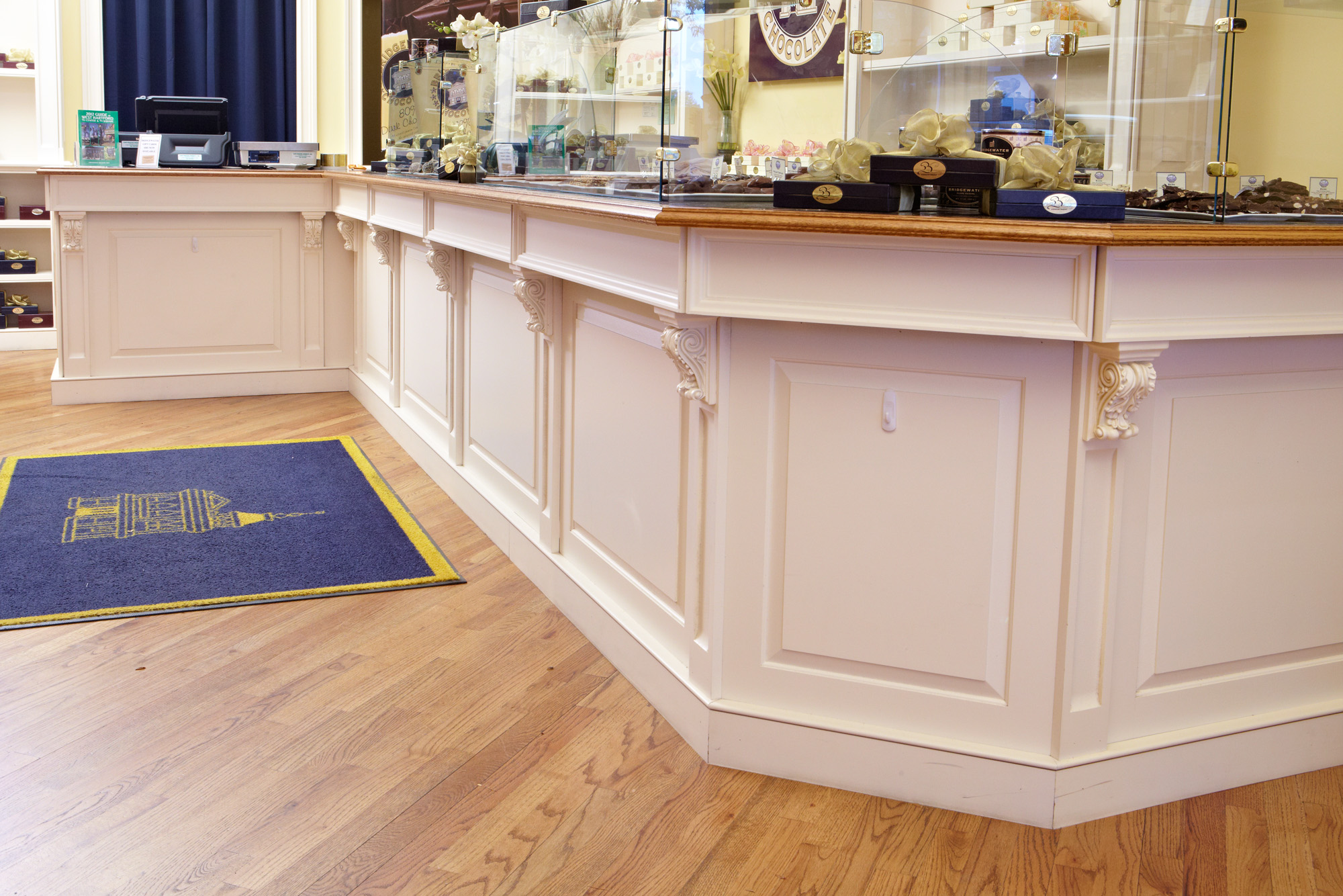 retail store with wainscoting panels on display case