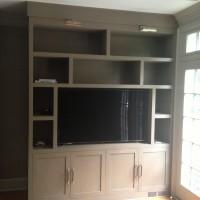 dark grey Built In Cabinets in family room