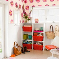 Colorful Mudroom Built In Cabinets with flowers