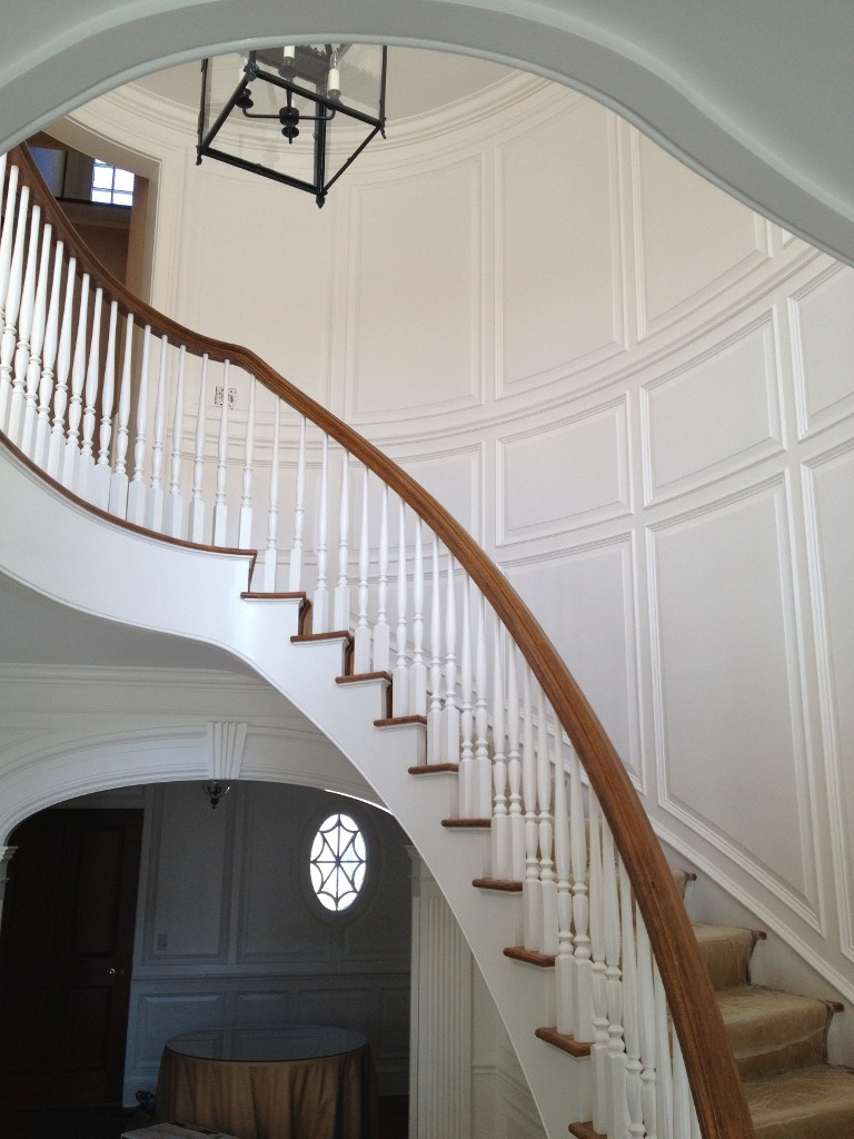 full wall raised panel curved wainscoting