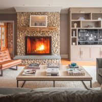 Contemporary Built in Cabinetry in warm living room