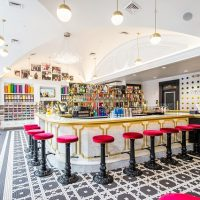bright colored ice cream parlor with wainscoting