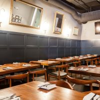 dark blue wainscoting restaurant