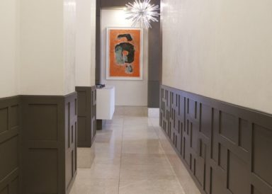 Soho entryway Design Wainscoting